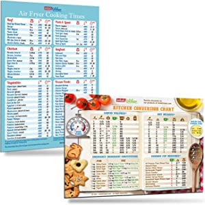 "Cool Kitchen Gifts Set: Must-Have Air Fryer Cooking Times (76 Foods) and Kitchen Conversion Chart Magnets (8""x11"") Baking Frying Cook Time Measurement Accurate Cheat Sheet Recipes Cookbook Accessories"
