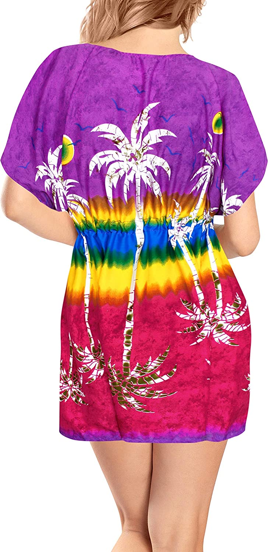 LA LEELA Women Beach V Neck Butterfly Sleeve Swimwear Bikini Cover Up Pack of 2