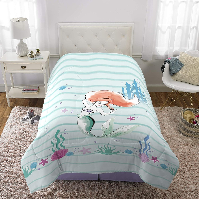 "Franco Kids Bedding Super Soft Microfiber Reversible Comforter, Twin/Full Size 72"" x 86"", Disney Little Mermaid"