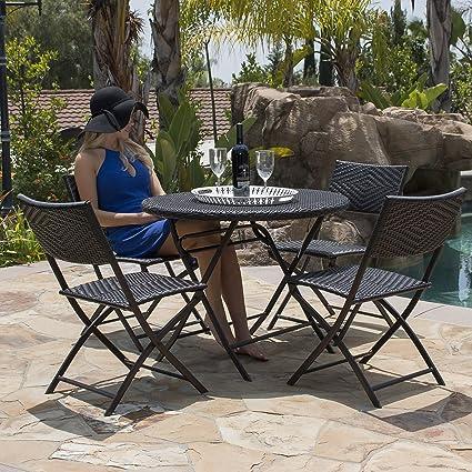 Belleze Bistro Set Folding Table U0026 Chair Dining Rattan Wicker Outdoor  Furniture Seat, ...