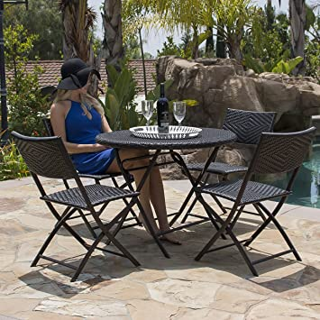 Belleze Bistro Set Folding Table U0026 Chair Dining Rattan Wicker Outdoor  Furniture Seat, ...