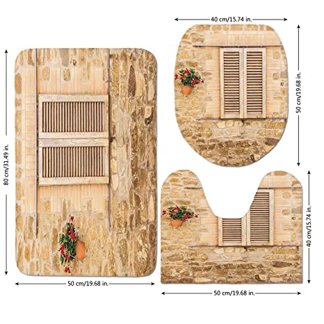 3 Piece Bathroom Mat Set,Tuscan,Rustic Stone House And Window Shutters  Flower Pot