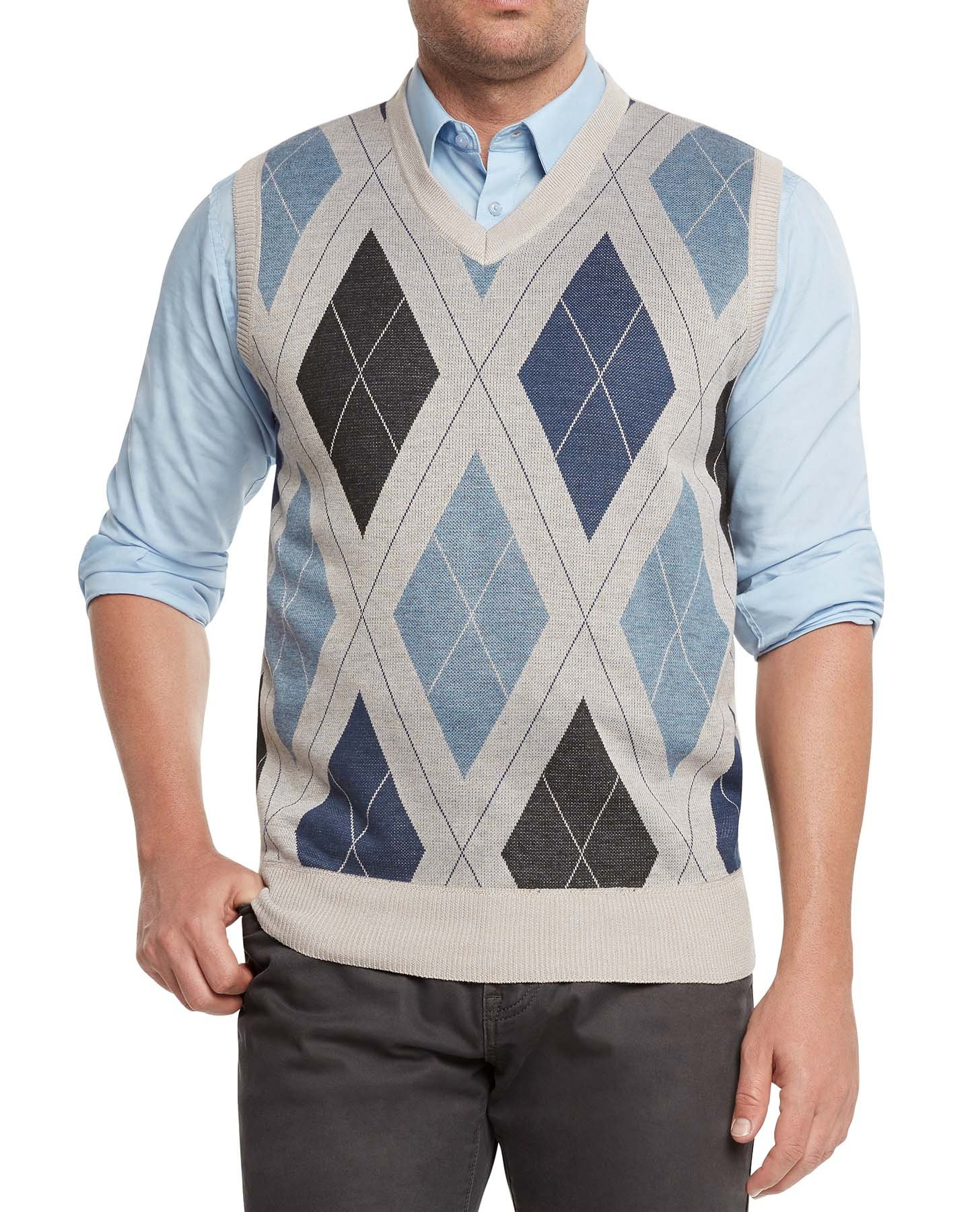 True Rock Men's Argyle V-Neck Sweater Vest-Beige/Blue/Blk-Medium