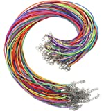 OUTUXED Necklace Cord 150pcs,Bulk Colored 1.5mm Waxed Cotton Necklace Chain with Lobster Claw Clasp for Pendants…