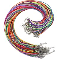 OUTUXED Bulk Necklace Cord,150pcs Multicolor 1.5mm Waxed Cotton Necklace Chain with Lobster Claw Clasp for Pendants…