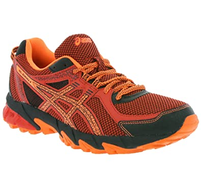 asics red running shoes