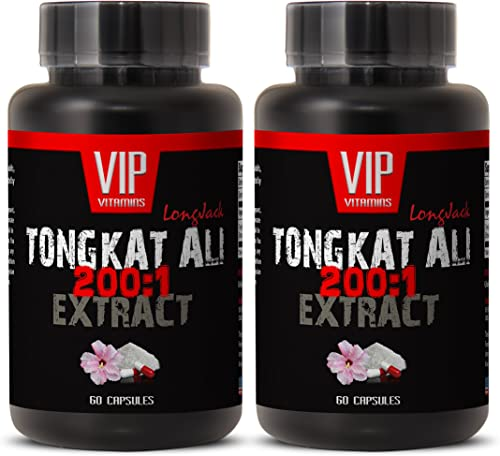 Natural Testosterone Enhancement Pills – TONGKAT ALI Extract 200 1 400MG – LONGJACK – tongkat Indonesia Real ali – 2 Bottles 120 Capsules