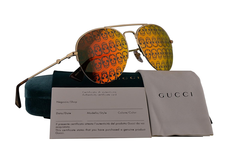 48a97817b57 Amazon.com  Gucci GG0107S Sunglasses Gold w Orange Mirror Lens 002 GG 0107S   Clothing