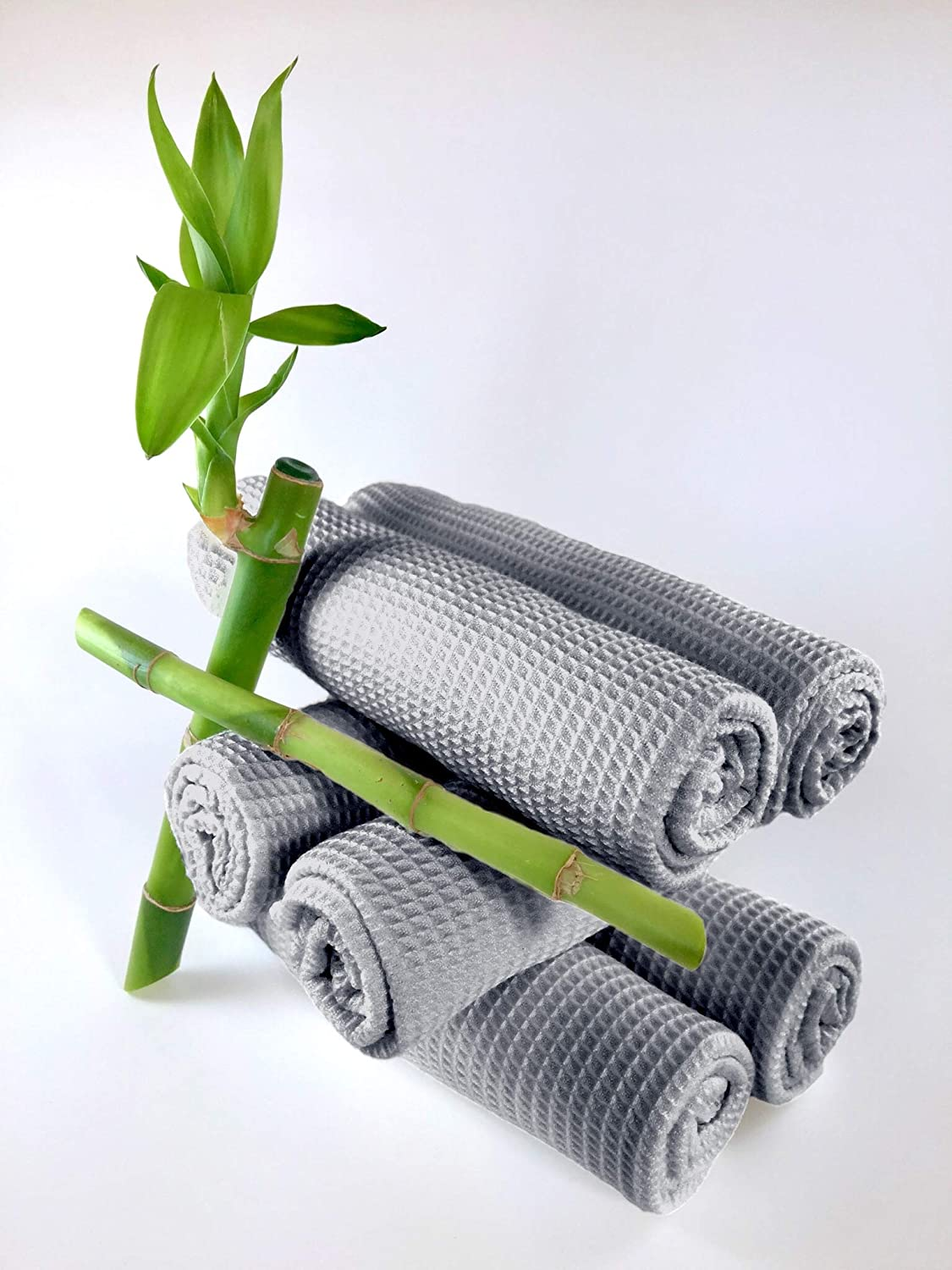 Stone Grey Set of 6 Naturally Antibacterial Odor-Resistant by Bambizzle Textiles Bamboo Dishcloths
