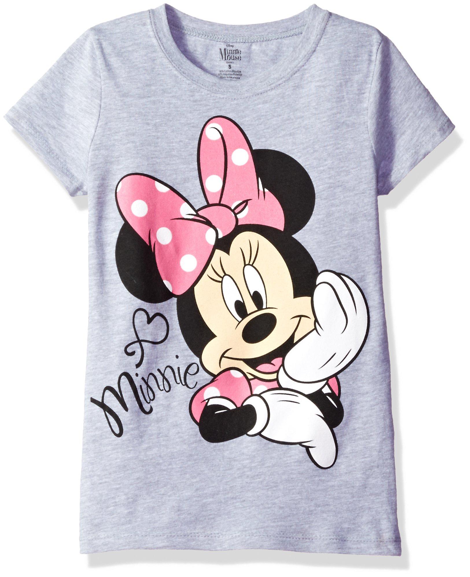 Disney Girls' Toddler Girls' Minnie Mouse Short Sleeve T-Shirt, Heather Grey, 5T