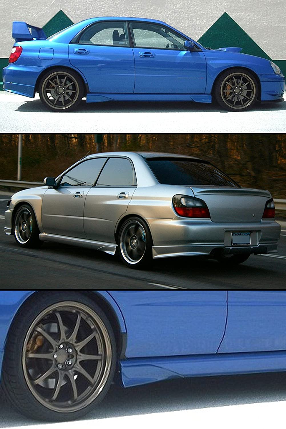 Fits for 2002-2007 Impreza WRX STI GD Front Add-on Side Skirt Aero Guard Strake Spats 2 Pieces