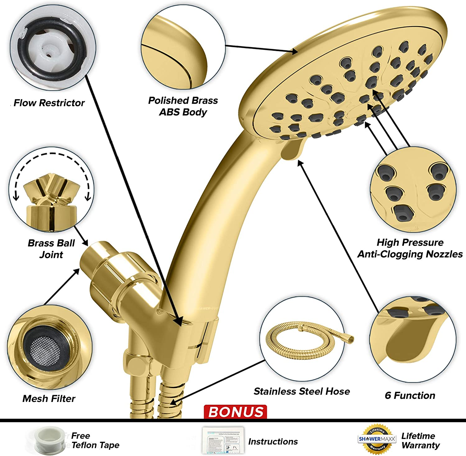 New Contemporary Solid Brass Polished Chrome Self Cleaning Shower Round Wand RH