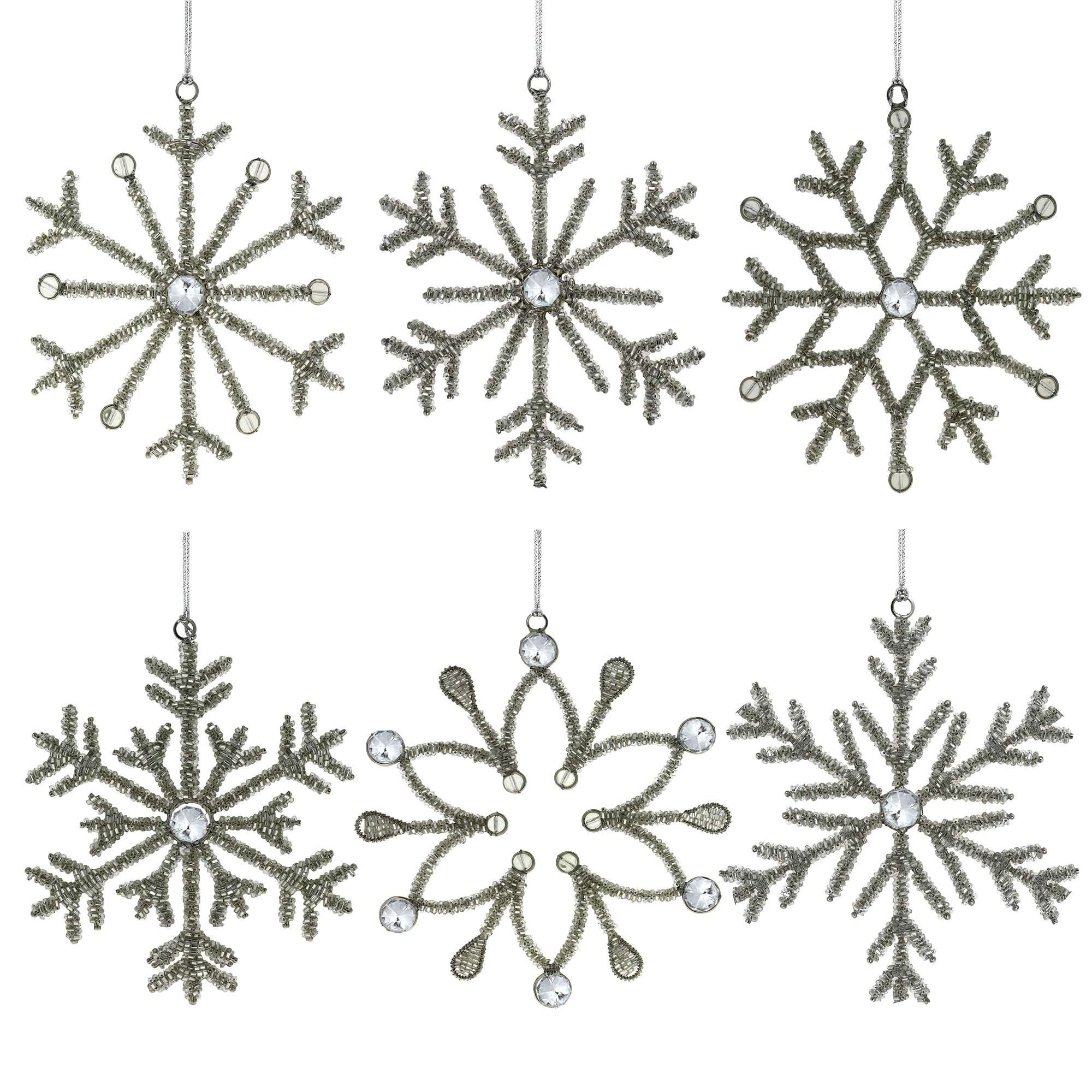 Set of 6 Handmade Large Snowflake Iron and Glass Pendant Christmas Ornaments For The Home, 9 Inches