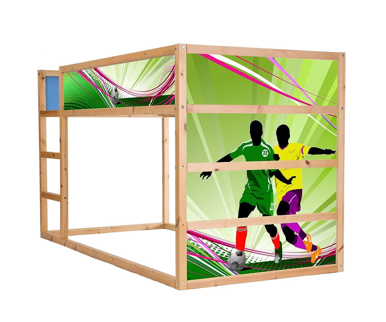 Stikkipix Fussball Möbelfolie selbstklebend/Aufkleber - IM194 - passend für das Kinderzimmer Hochbett KURA von IKEA - Möbel Nicht Inklusive