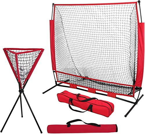 ZENY 5 x 5 Baseball Softball Practice Hitting Pitching Batting Net with Bow Frame,Carry Bag,Great for All Skill Levels Foldable Ball Caddy