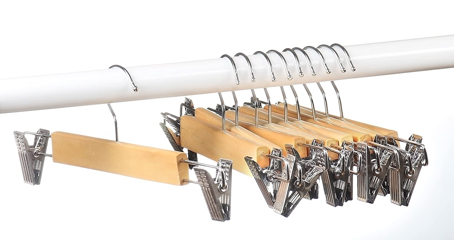 Amazon.com: Home-it (10 PACK) skirt hangers with clips wood hangers ...
