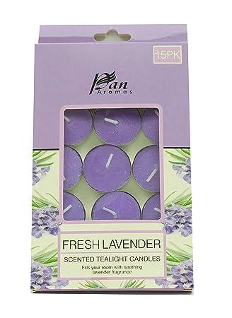 PAN AROMAS Fresh Lavender Tealight Candle - Pack of 15