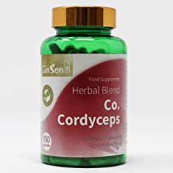 Co. Cordyceps by Ginsen (150 Capsules) Immune System Functions Fatigue Tinnitus