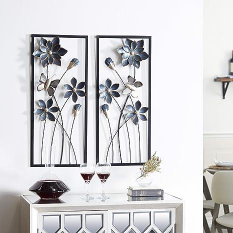 Amazon Com Deco 79 53361 Metal Wall Decor Set Of 2 12 X 28 Blue Silver Gold Black Home Kitchen