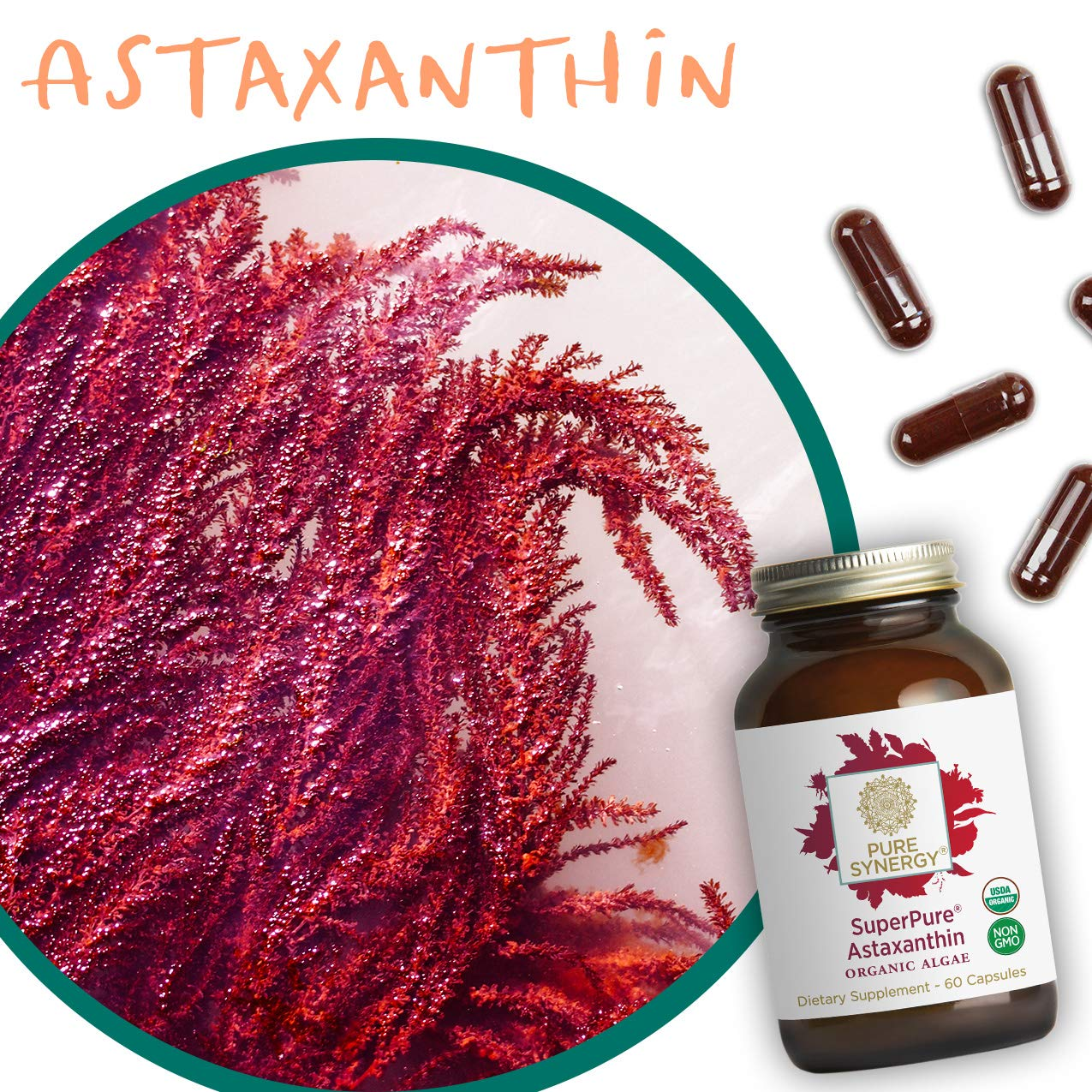 Pure Synergy USDA Organic SuperPure® Astaxanthin Extract (60 Capsules) Nature's Supreme Antioxidant by Pure Synergy