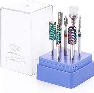 Makartt Nail Drill Bit Set, Tungsten Carbide Diamond Ceramic Nail Drill Bits 7Pcs Remove Gel Polish Poly Nail Gel Drill Bit Manicure Pedicure B-35