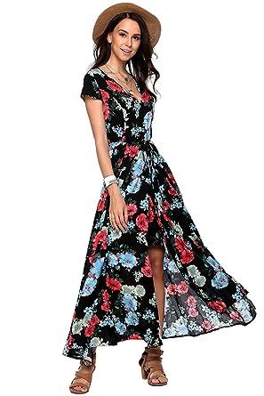 22d25d67e9a Amazon.com  Zeagoo Women Floral Romper Maxi Dress Cold Shoulder Beach Dress  Overlay Boho Jumpsuit  Clothing