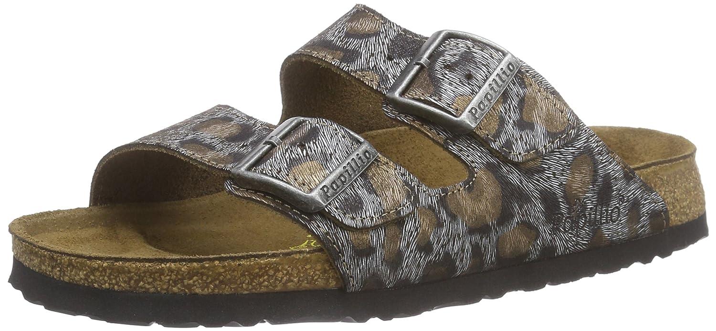 Birkenstock Arizona VL - Sandalias de Cuero Mujer 36 EU|Varios Colores - Mehrfarbig (Leopardo Antique)