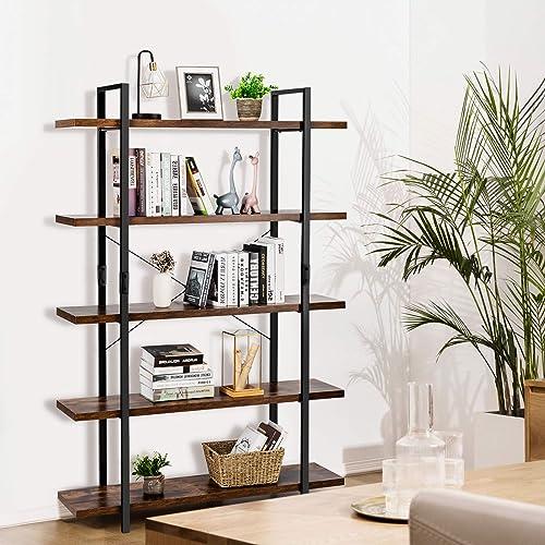 Giantex 5-Tier Bookshelf Industrial Style Bookcase Vintage Wood Bookshelves
