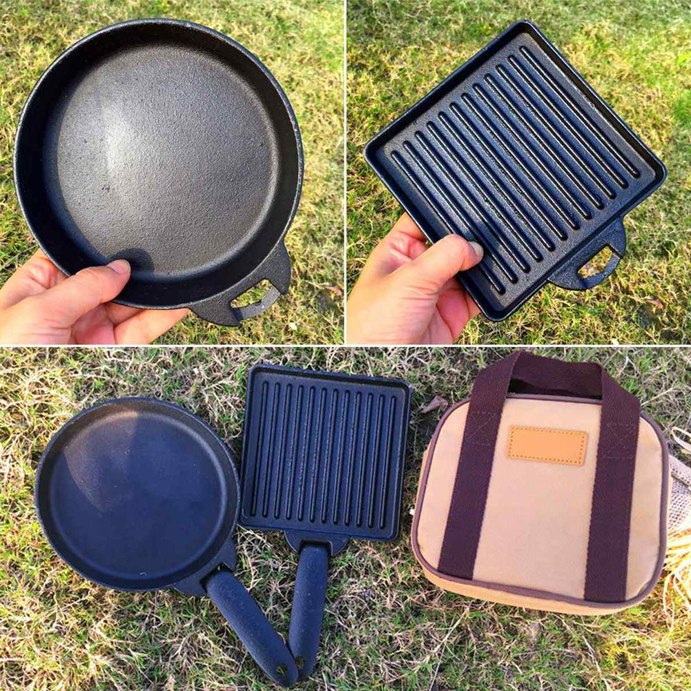 Outdoor Cooking Oven Safe Pan Set for Camping Hiking 2PCS BBQ Pot Iron Skillet Non Stick Detachable Frying Pan with Helper Outdoor Frying Pans
