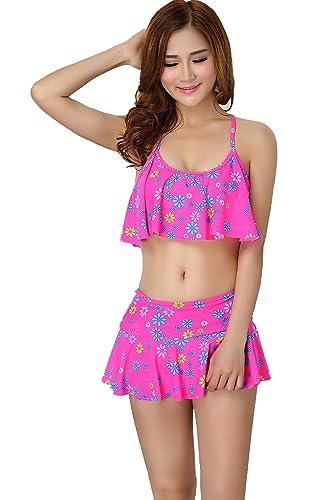 Womens Tankini Swimsuit Bikini Padded Bathing Suits Lotus Leaf Cover Up for Girl Bikini suit