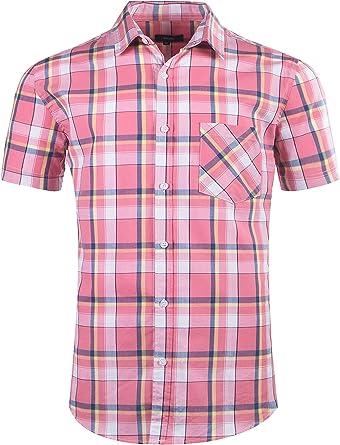 SOOPO Camisa Casual de Manga Corta a Cuadros de algodón para Hombres Camisa de Verano de algodón a Cuadros Regular-fit: Amazon.es: Ropa y accesorios