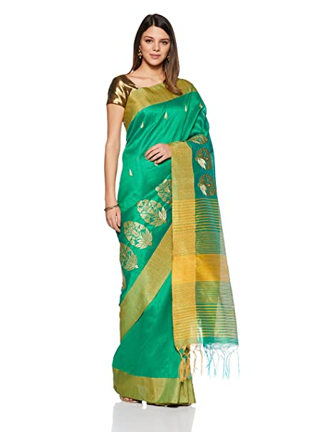 70fa25cdd1776 Aalia Art Silk Embroidered Saree with Blouse piece (8807-Grass Green ...