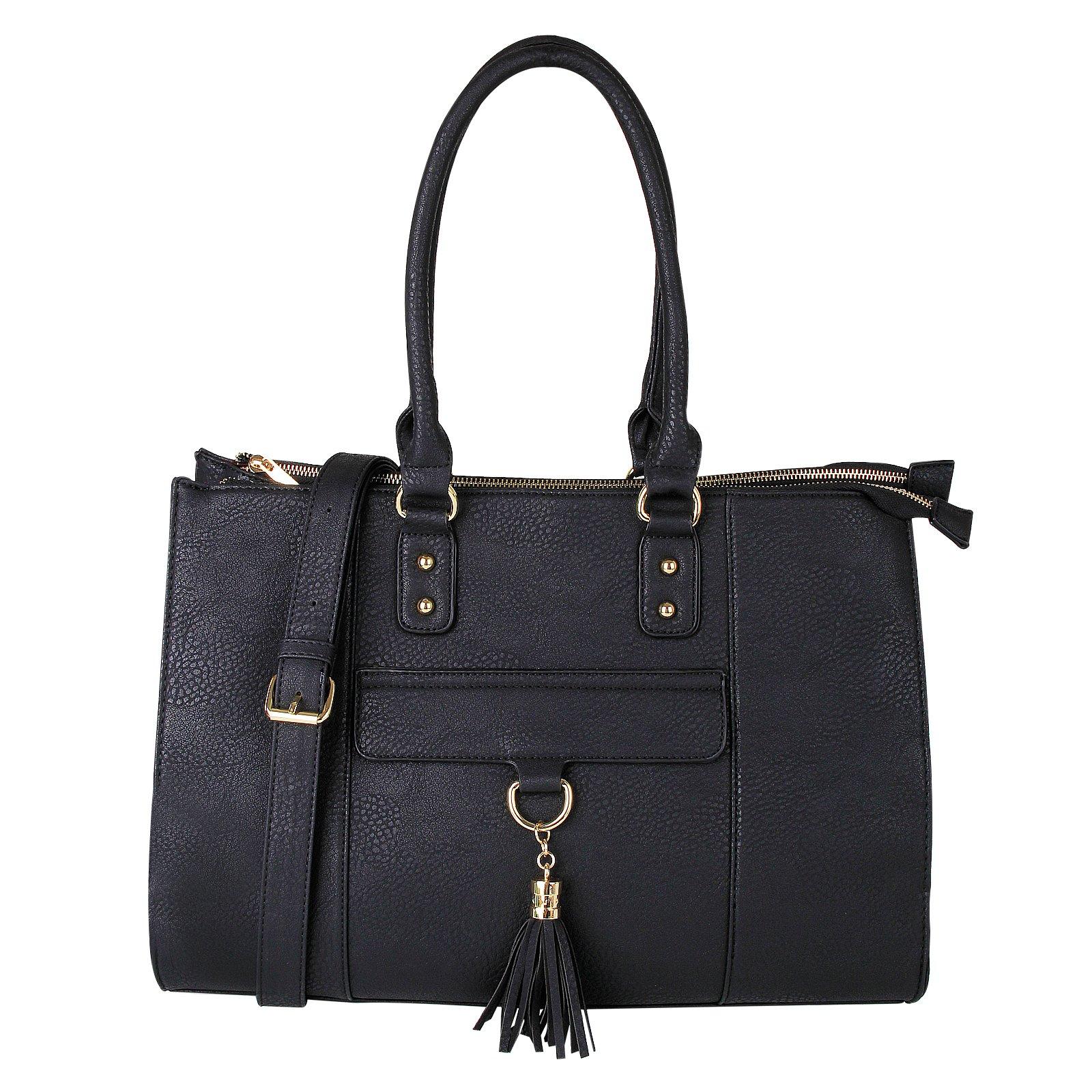 Eva & Evan 2018 New Women Satchel Handbags Shoulder Bag with Tassels Top Handle Large PU Leather Adjustable Strap Black