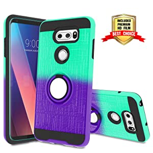 LG V35 ThinQ Case, LG V30/ LG V30 Plus/LG V30S ThinQ Case with HD Screen Protector,Atump 360 Degree Rotating Ring Holder & Kickstand Bracket Dual Layers Cover Phone Case for LG V30+ Mint/Purple