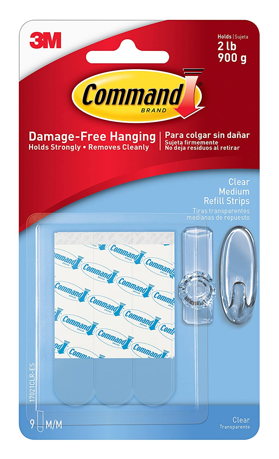 Command Refill Strips, Medium, Clear, 9-Strips (17021CLR-ES) 3M 3M Office Products