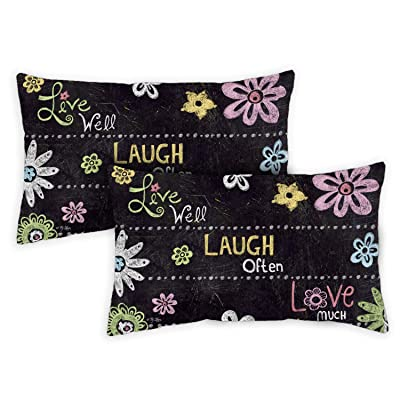 Toland Home Garden 731209 Live Laugh Love Chalkboard 12 x 19 Inch Outdoor, Pillow with Insert (2-Pack) : Garden & Outdoor