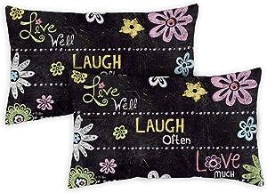 Toland Home Garden 771209 Live Laugh Love Chalkboard 12 x 19 Inch Indoor/Outdoor, Pillow Case (2-Pack)