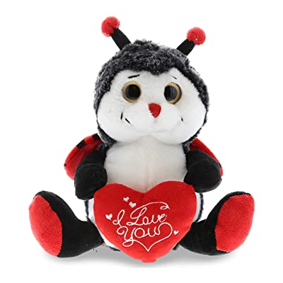 DolliBu Sitting Lady Bug I Love You Valentines Stuffed Animal - Heart Message - 7 inch - Super Soft Plush - Item #K5187-5998: Toys & Games