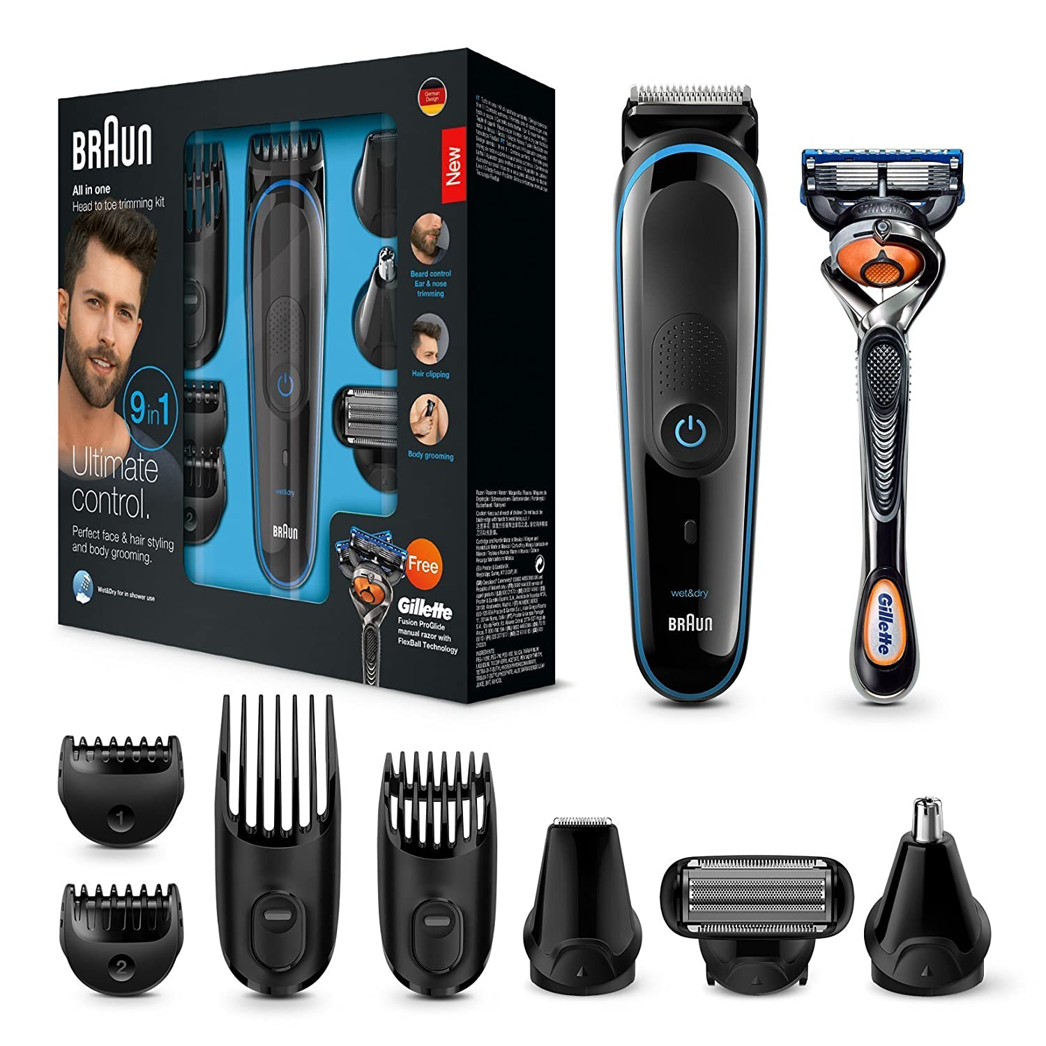 Braun Multi Grooming Kit MGK3085 9-In-1 Precision Trimmer for Beard and Hair Styling with Gillette Fusion Proglide Razor, Black/Blue Procter & Gamble 4210201216285