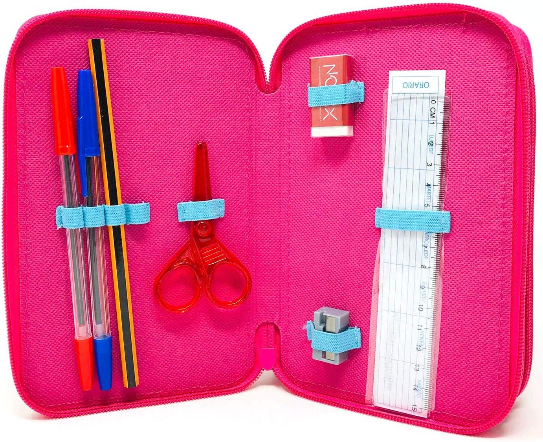 Plumier 3 Cremalleras Estuche de 3 Pisos Minnie Unicornio Estuche Escolar Niña Estuche 44 piezas, Color Rosa (Rosa): Amazon.es: Oficina y papelería