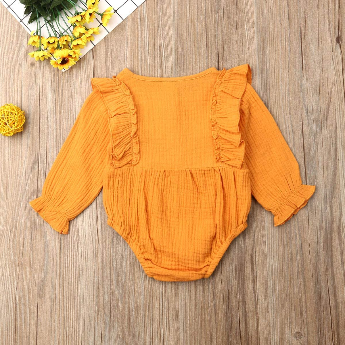 LddcryMbb Newborn Infant Fall Outfits Baby Girls Long Sleeve Solid Color Romper One-Size Bodysuit Jumpsuit 0-24Months Clothes