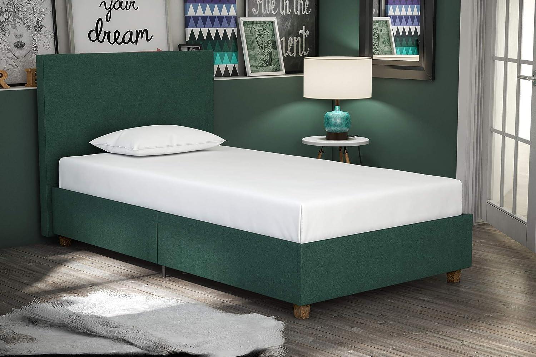 DHP Alexander Upholstered Platform Bed Frame, Green Linen, Twin