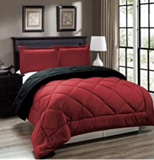 Legacy Decor 3pc Down Alternative, Reversible Comforter Set Red And Black,  Fits Full And