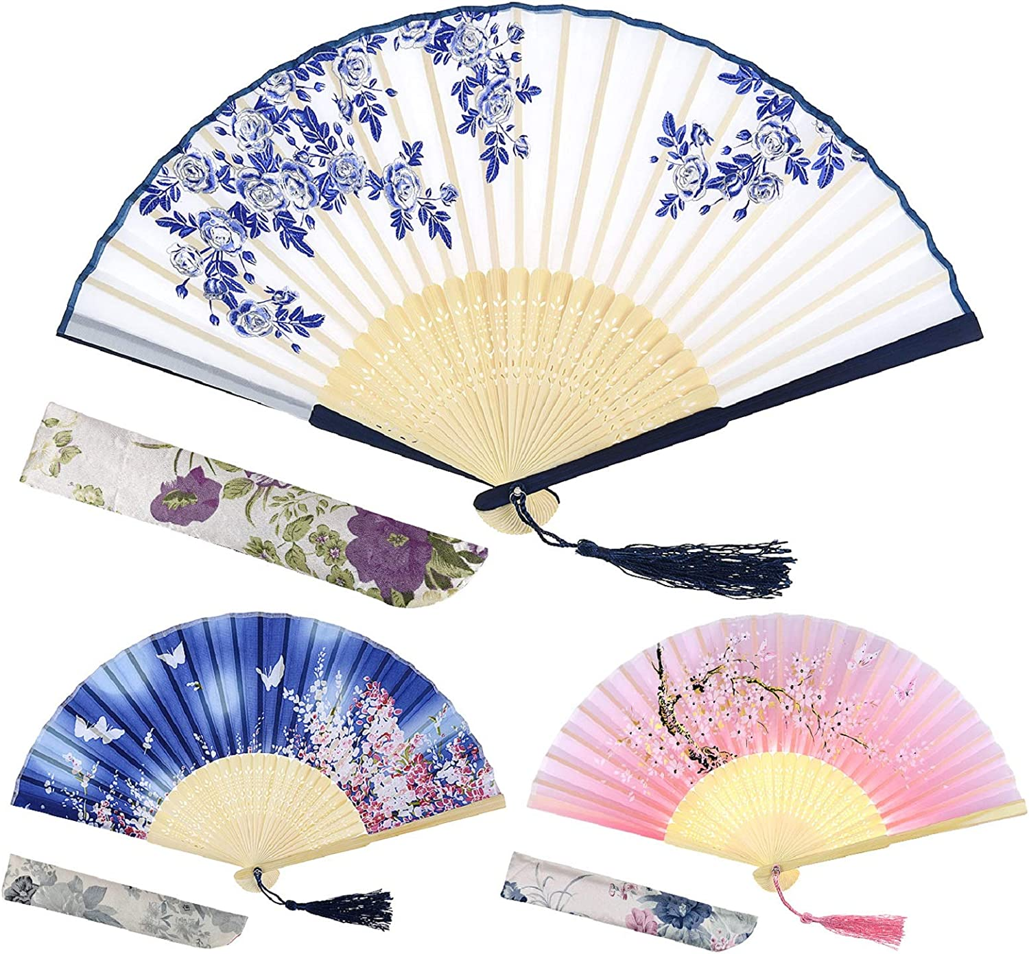 EAONE 3 Pcs Handheld Fan, Abanicos de Mano Chinese Butterflies Flowers Vintage Style Silk Hand Folding Fan with Bamboo Frame and Elegant Tassel for Party Wedding Dancing Cosplay Home Decoration