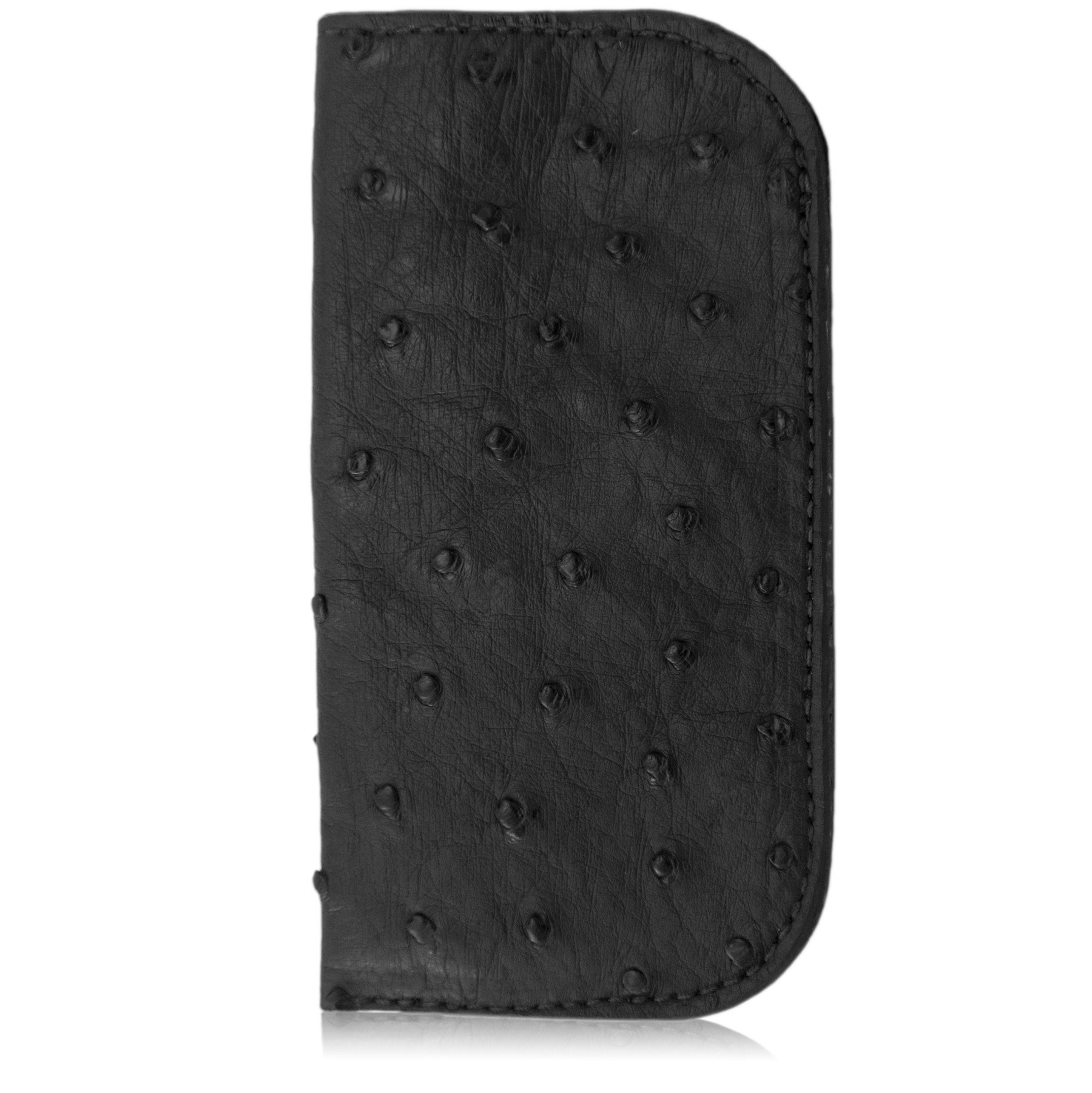 Black Genuine Ostrich Skin Soft Glasses Case by Yoder Leather Company