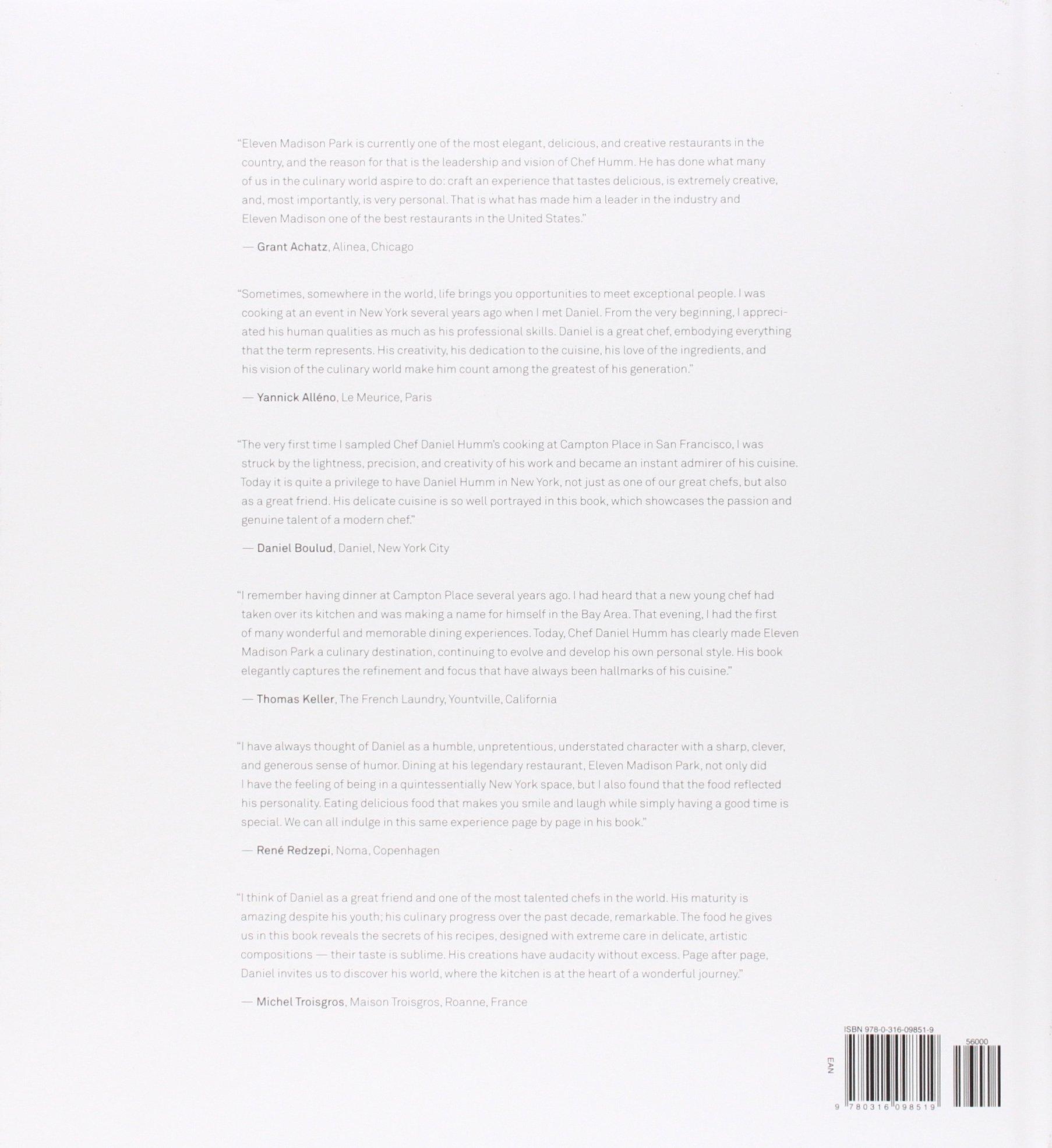 Eleven Madison Park: The Cookbook: Daniel Humm, Will Guidara, Francesco  Tonelli: 9780316098519: Amazon: Books