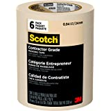 Scotch Contractor Grade Masking Tape, 0.94 inches by 60.1 yards (360 yards total), 2020, 6 Rolls