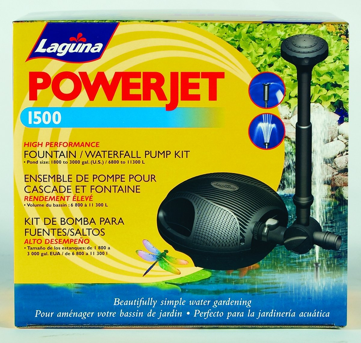 LAGUNA WATER GARDEN PT8208/PT332 POWERJET FOUNTAIN PUMP KIT 1500 GPH