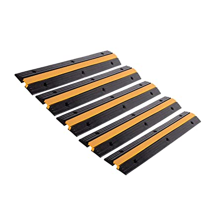 FCOME 1 Pack Rubber Cable Ramp Hose Cable Protector Ramp 2 Channel 11000Lbs Load Capacity Traffic Speed Bump Wires Power Lines Extension Cord Cover for Indoor Outdoor