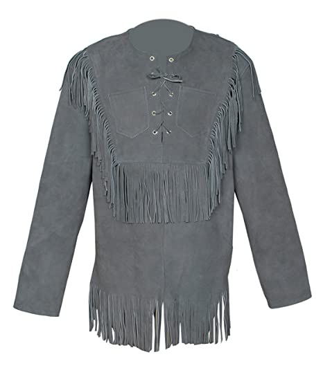 9d74e148 Baba Geniuse International Men's Western Suede Leather Cowboy Style Jacket  with Fringe Size Small to 4XL